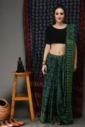 Hand Block Printed Soft Malmal Cotton Saree