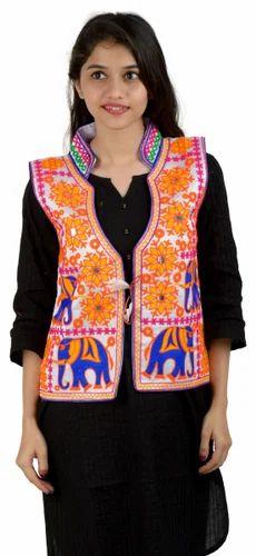 e9ac3d77e8 Banjara India Dupion Silk M.Aari Hathi-Kutchi Embroidered Designer Jacket,  Adult