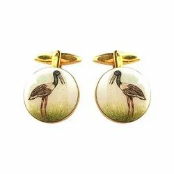 Hand Painted Exotic Birds Cufflinks Collection