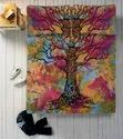 Tree Ombre Mandala Printed Cotton Double Bed Sheet