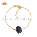 Gold Plated Silver Raw Tanzanite Gemstone Chain Bracelet