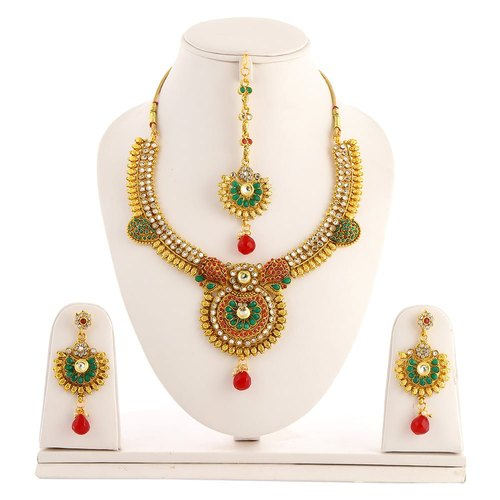 Golden Artificial Necklace Sets, Occasion: Party