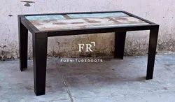 Coffee Table In Industrial Reclaimed Wood Top Great For Restaurant Lounge