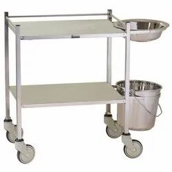 Silver Dressing Trolley With Bowl Bucket, Model Name/Number: Ss, Size: Std