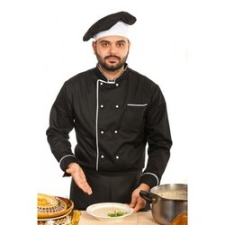 Chef Coat Black With White Trimmings