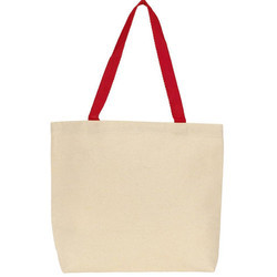 Off White and Red Plain Canvas Tote Bag, Size: 42 x 36 x 15 cm base