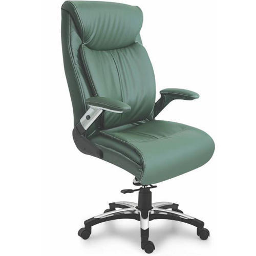 Green Leather Fixed Arms Office Chair