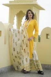 Cotton Printed Skirt Kurti With Dupatta Set