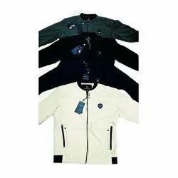 Full Sleeve Party Wear Mens Zipper Denim Jacket, Size: L-XXL
