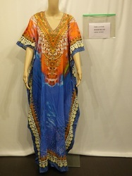 Blue Orange Cotton Kaftan