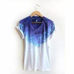 Half Sleeve Round Ladies Natural Tie Dye t Shirt, 160 Gsm, Size: S-Xxl