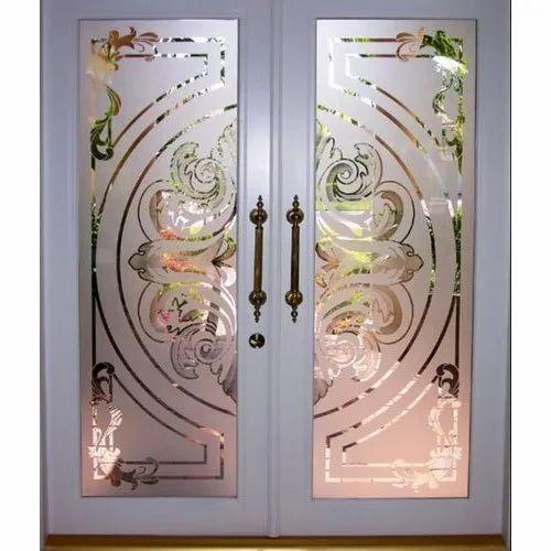 Hinged Designer Etched Glass Door