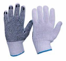 男女皆宜的棉花用PVC点针织手手套