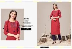 Red Designer Kurti with Pants