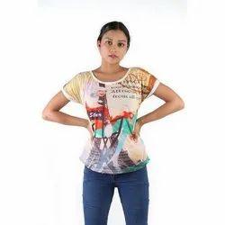 Multicolor Printed Ladies Half Sleeve Top