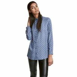 SFT Blue Ladies Printed Denim Shirts