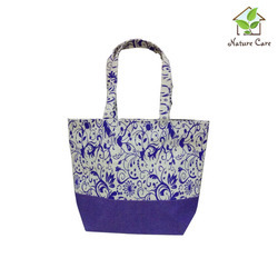 Purple Jute Bag With Floral Print
