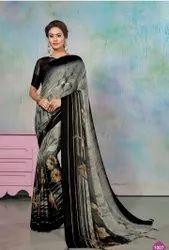 Black Designer Brasso Printed Saree