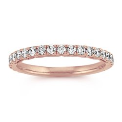 Sheetal Impex 0.40Ctw VS/FG Color Real Natural Diamonds Stud 18Kt Rose Gold Eternity Ring