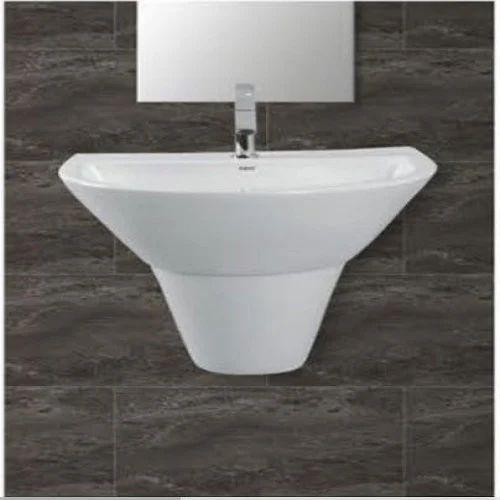 Ceramic White Wash Basin Half Pedestal Shape Rectangular
