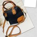 Brown And Black Leather Ladies Trendy Handbag
