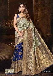 Silk Embroidered Party Wear Saree with Blouse Piece, Length: 5.5 m