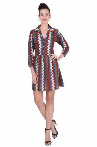 Cotton 3/4th Sleeves Kostheta Women Skater Brown Dress