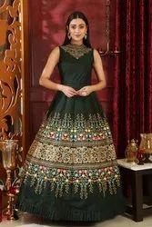 Women Oracle Western Stunning Dark Green Silk Trendy Designer Evening Wear Gown