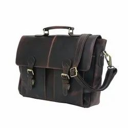 High Quality Dark Brown Hunter Leather Modified Laptop Bag for Daily Use
