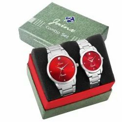 Jainx Red Dial Analog Couple Watch JC463
