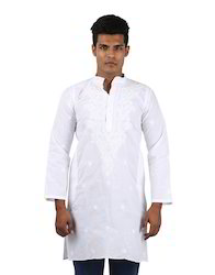 Men's 100 % Cotton White Embroidered Floral Kurta