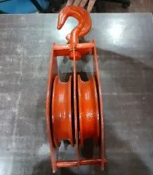Mild Steel 8 Inch Double Block Rope Pulley, For Single Grinder Crane, Capacity: 2 Ton