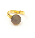 Grey Chalcedony Handmade Ring With Gold Plated