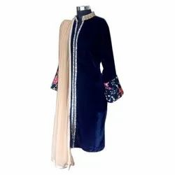 Velvet Party Wear Ladies Blue Designer Kurti, Size: Medium, Wash Care: Machine wash