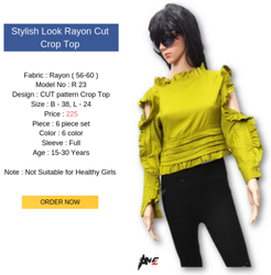 Fancy Rayon Top Cut Crop Top, Size: XL