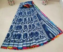 Indigo Hand Block Printed Cotton Saree