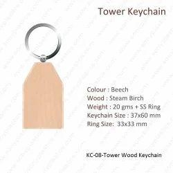 Wooden Keychain-KC-08-Tower Keychain