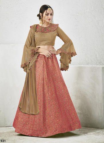 Wedding And Bridal Wear Brocade, Georgette Styish Indowestern ...