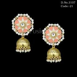 Pearl Meenakari Jhumka Earrings