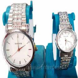 Round SONATA Silver Chain Wrist Watch Set