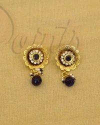 Chia Jewels Blue Flourish Excellent Delicate Antique Earrings, Size: Free Size