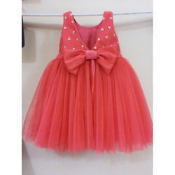 Pink Party Wear Kids Frock with Bow