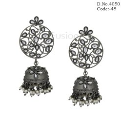 Traditional Black Polish Kundan Jhumka Earrings