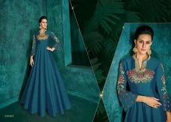 Compelling Silk Embroidered Anarkali Style Gown