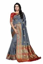 Banarasi Silk Sarees, Length: 6.3 m (with Blouse Piece)