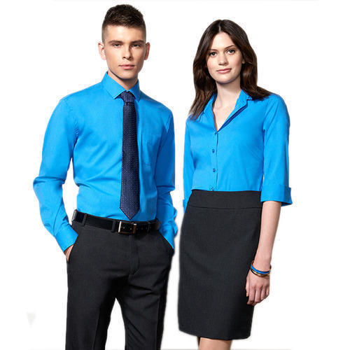 low priced 0e8b7 67473 Blue And Black Cotton Corporate Staff Uniform