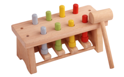 Meraki Multicolor Wooden Hammer Toys With Pegs Deluxe, Size/dimension: 9x3.75x3.6