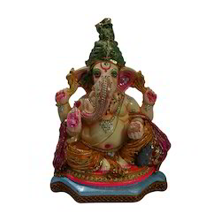 Clay Multicolor Decorative Ganesh Ji Statue