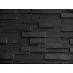 Black Quartzite Stacked Stone Tile, For Wall, Packaging Type: Box