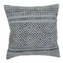 Geometric Pattern Printed Embroidered Blue Grey Cotton Cushion Cover